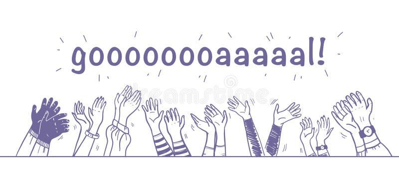 Иллюстрация вектора рукоплескания, приветствия & поздравления с нарисованный рукой человеческий праздновать хлопать рук поднятый  иллюстрация вектора