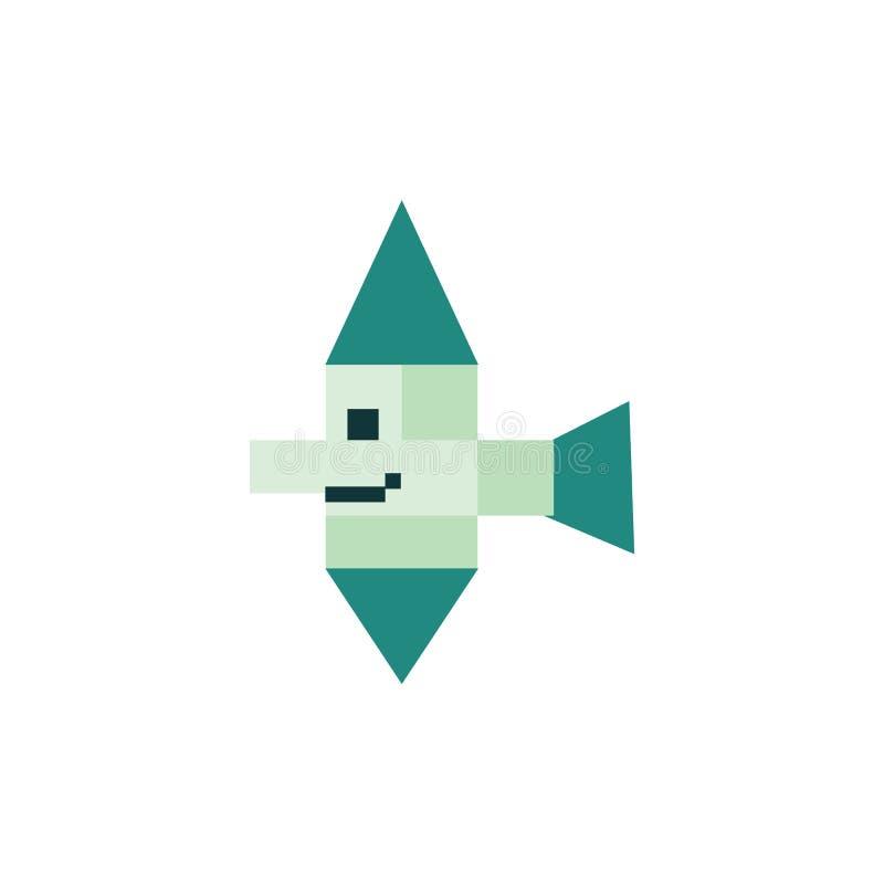 Иллюстрация вектора рыб милого нео бита зеленого цвета 8 мяты тропическая Clipart пиксела Sealife иллюстрация штока