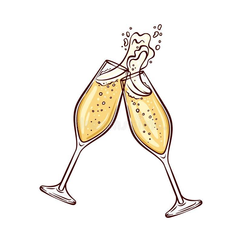 Иллюстрация вектора 2 рюмок с шампанским в стиле эскиза бесплатная иллюстрация