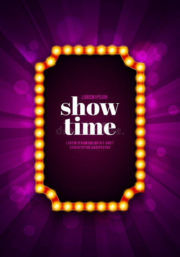 Иллюстрация вектора светя ретро афише кино Винтажный яркий шаблон доски знака с текстом Showtime иллюстрация штока