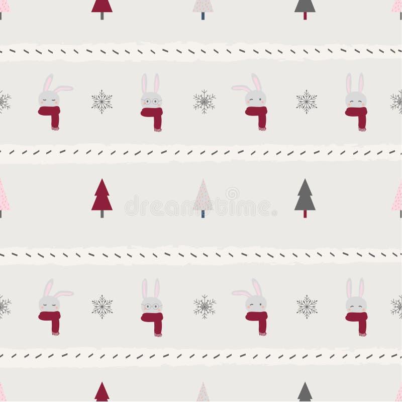 Иллюстрация вектора сезона зимнего отдыха рождества повторяя безшовное дерево хлопьев снега кролика бесплатная иллюстрация