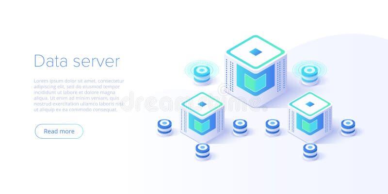 Иллюстрация вектора сервера хостинга равновеликая Абстрактная предпосылка комнаты datacenter 3d или центра данных Мейнфрейм сети бесплатная иллюстрация