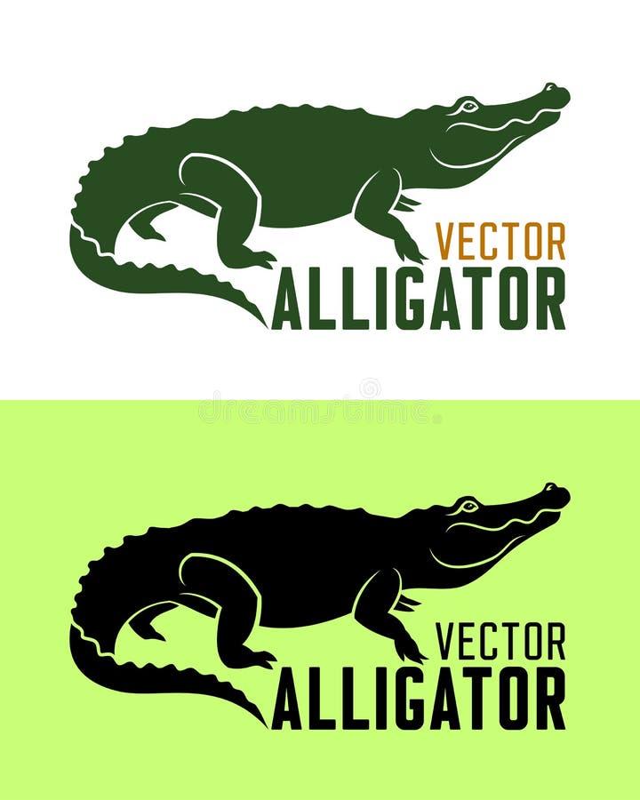 Иллюстрация вектора силуэта аллигатора стоковое изображение rf