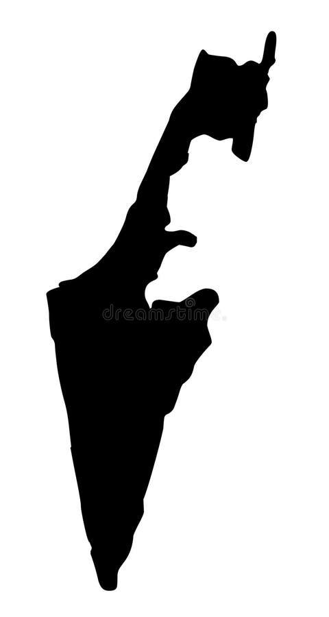 Иллюстрация вектора силуэта карты Израиля иллюстрация вектора