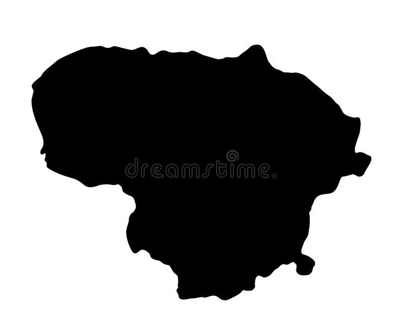 Иллюстрация вектора силуэта карты Литвы бесплатная иллюстрация