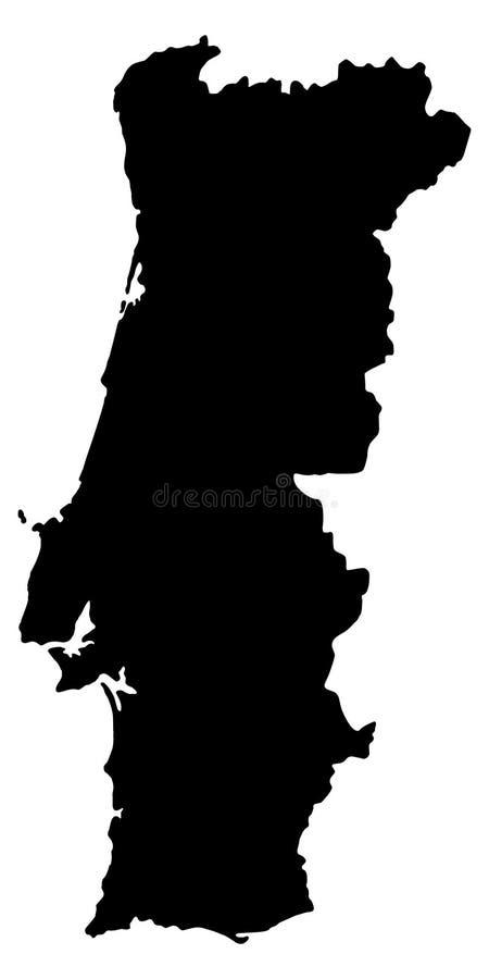 Иллюстрация вектора силуэта карты Португалии иллюстрация вектора