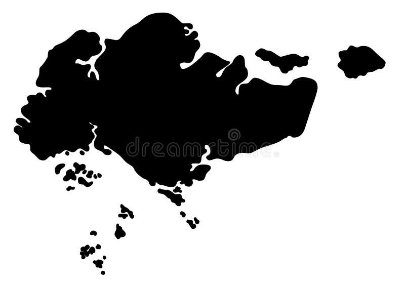 Иллюстрация вектора силуэта карты Сингапура иллюстрация вектора