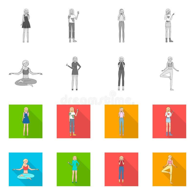Иллюстрация вектора символа позиции и настроения Собрание позиции и женского сокращенного названия выпуска акций для сети иллюстрация вектора