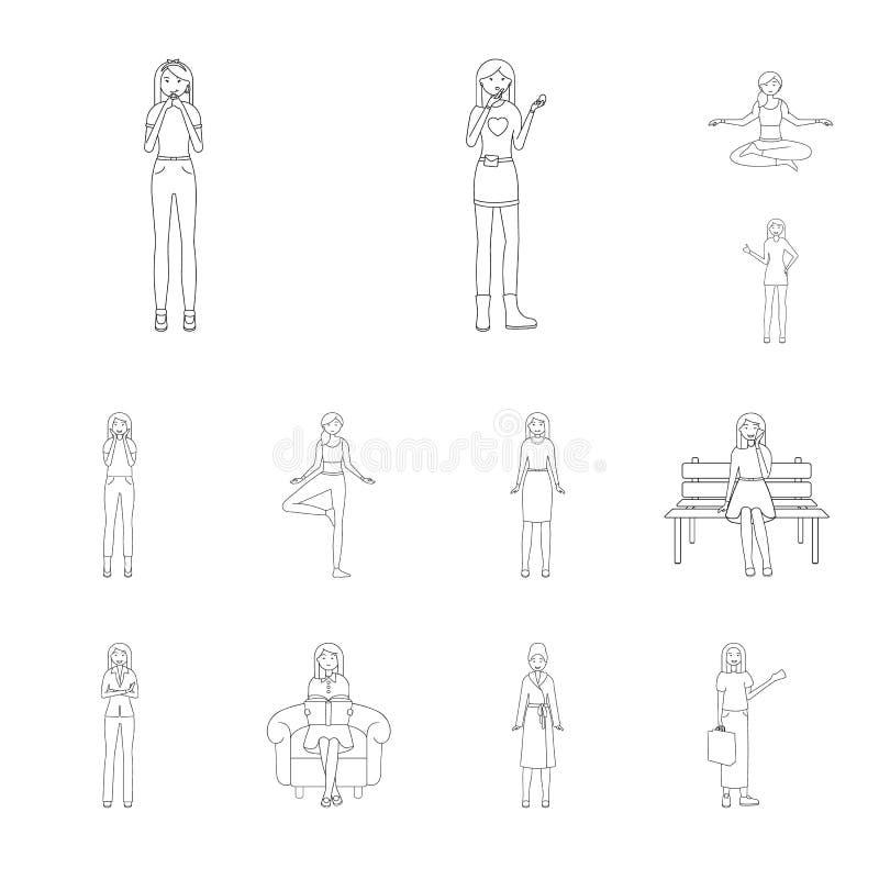 Иллюстрация вектора символа позиции и настроения Собрание позиции и женского сокращенного названия выпуска акций для сети иллюстрация штока