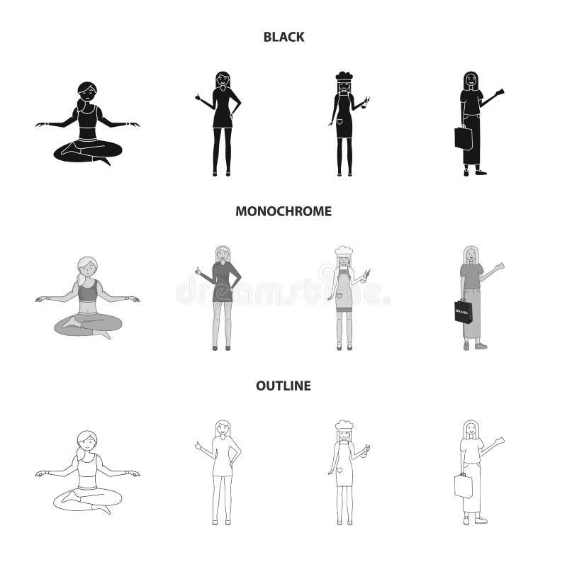 Иллюстрация вектора символа позиции и настроения Собрание позиции и женской иллюстрации вектора запаса бесплатная иллюстрация