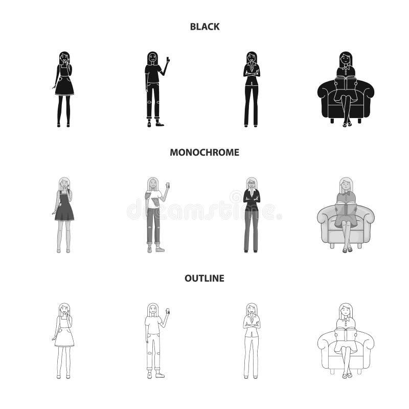 Иллюстрация вектора символа позиции и настроения Установите позиции и женского значка вектора для запаса бесплатная иллюстрация
