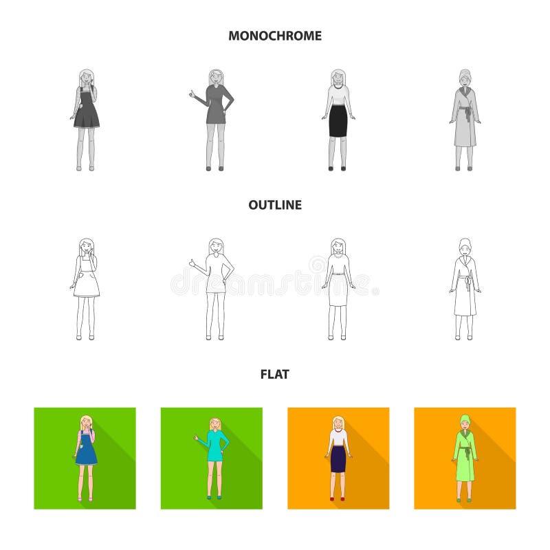 Иллюстрация вектора символа позиции и настроения Установите позиции и женского значка вектора для запаса иллюстрация вектора