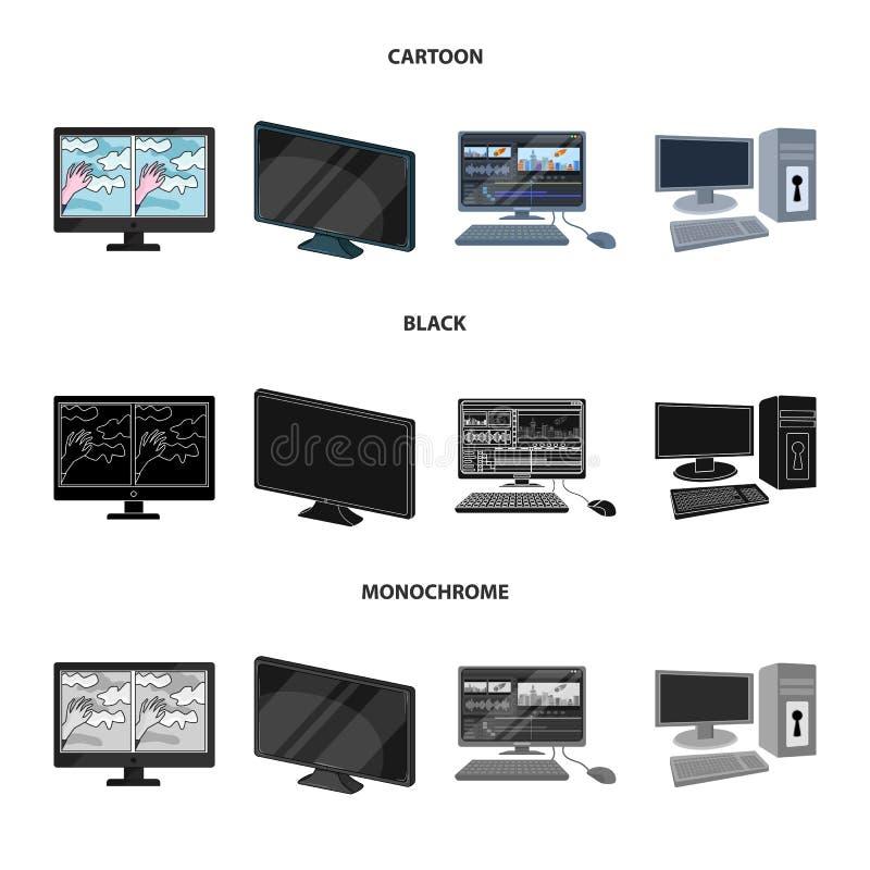 Иллюстрация вектора символа экрана и компьютера Установите сокращенного названия выпуска акций экрана и модель-макета для сети иллюстрация штока