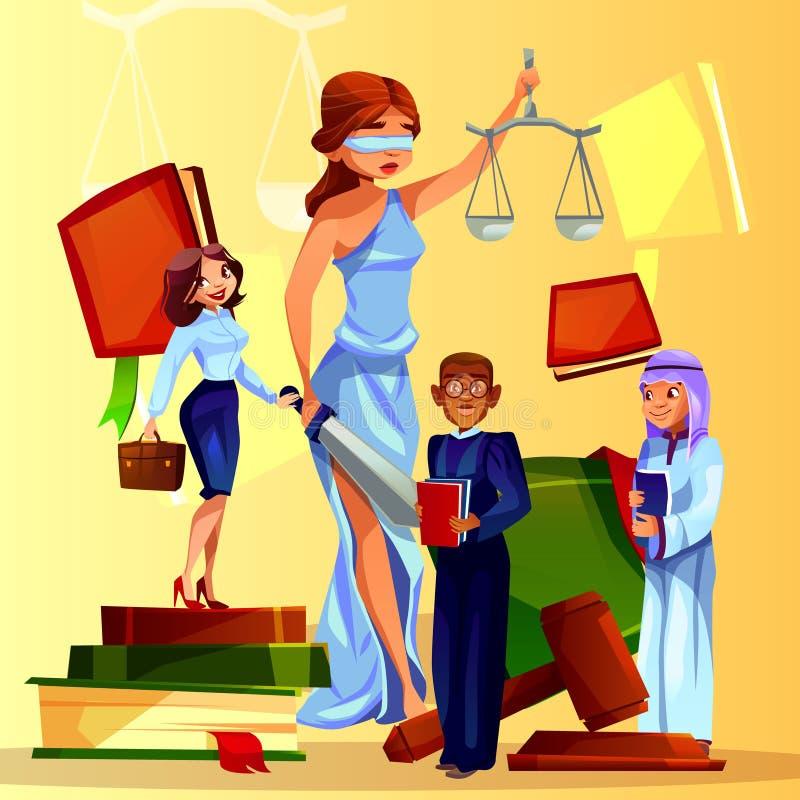 Иллюстрация вектора символов суда и законодательства иллюстрация вектора