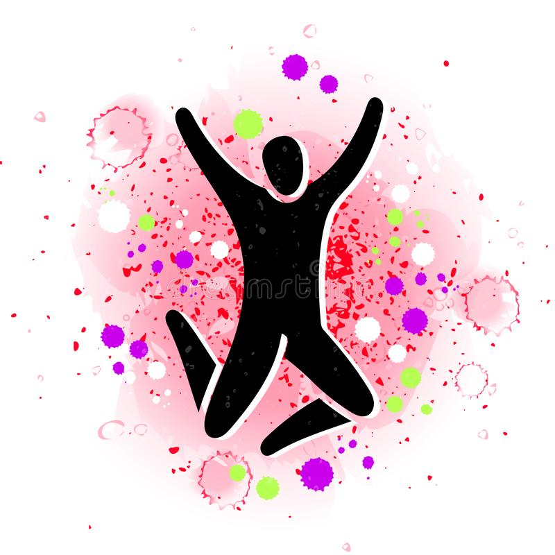 Иллюстрация вектора скача людей Силуэт ребенк женщины человека Диаграмма знак тела значка Концепция парка батута иллюстрация вектора