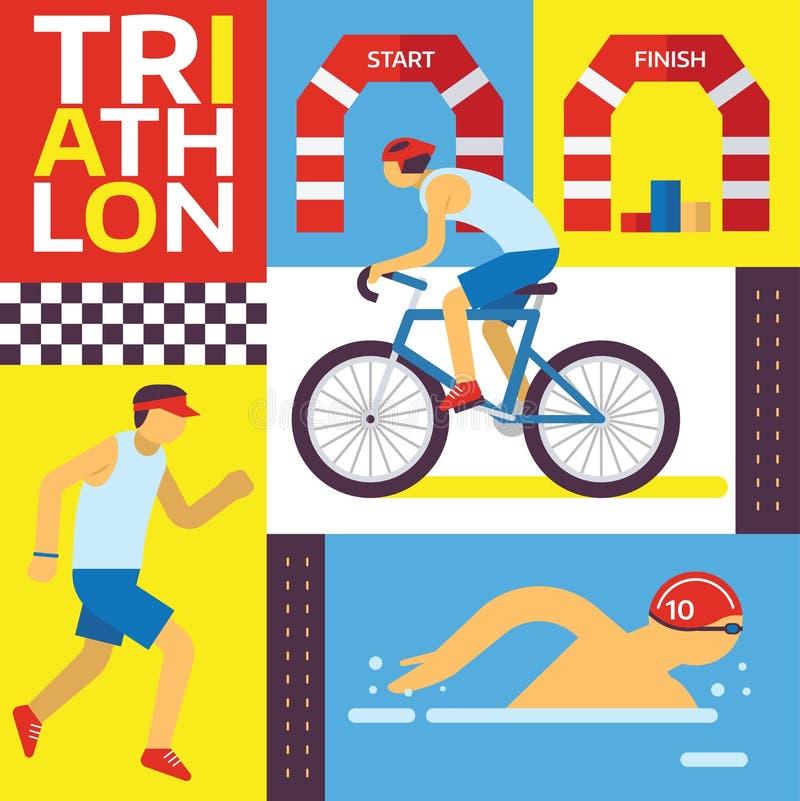 Иллюстрация вектора следа триатлона Плавающ, едущ, идущее знамя Быстрый спортсмен в конкуренции триатлона, тренировке иллюстрация штока