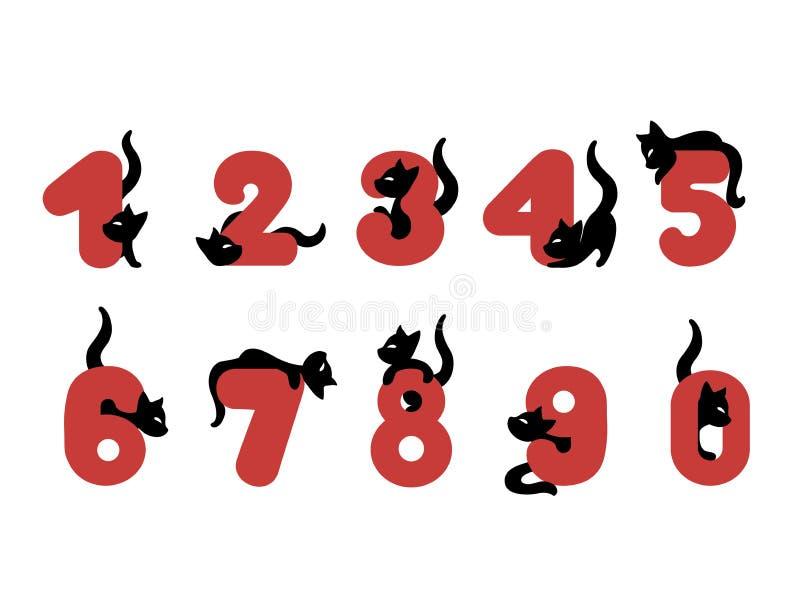 Иллюстрация вектора смешного номера алфавита с котами бесплатная иллюстрация