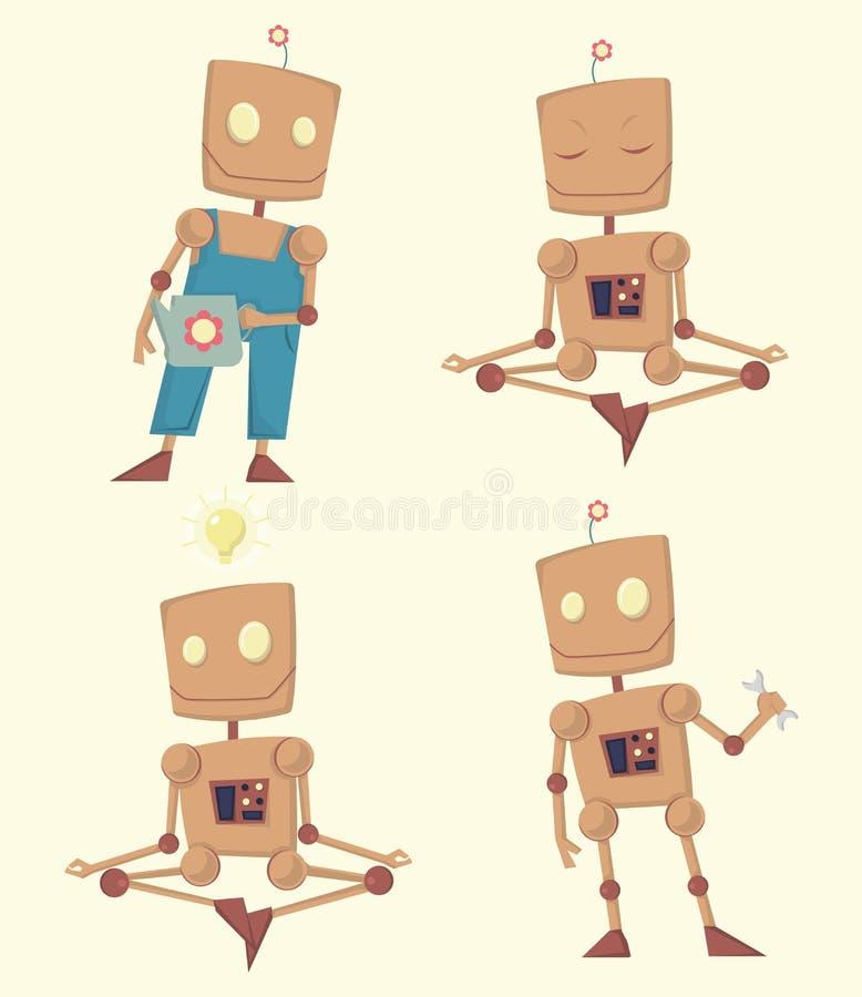 Иллюстрация вектора смешного робота шаржа установленная бесплатная иллюстрация