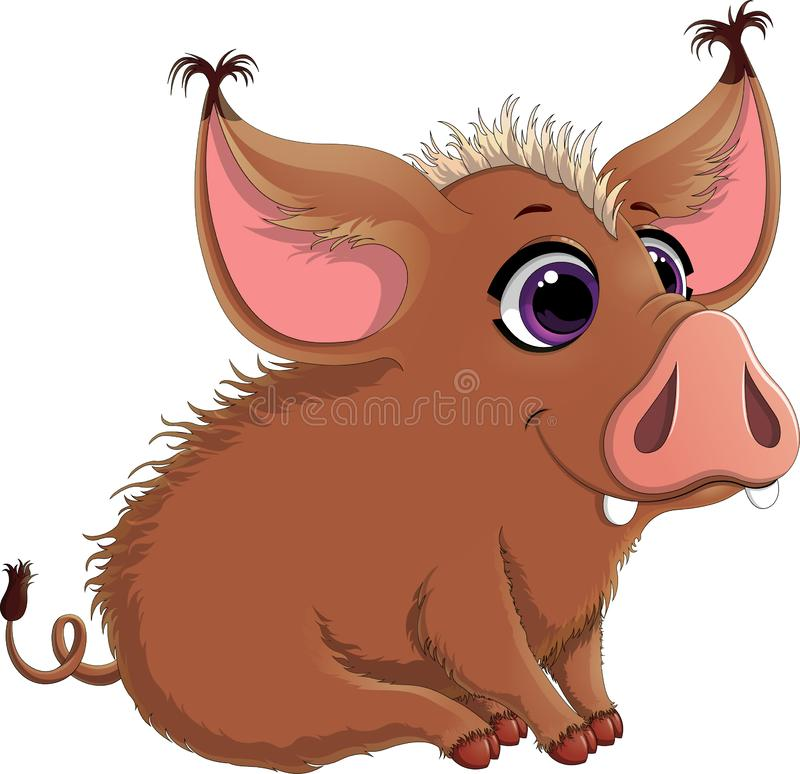 Иллюстрация вектора смешной свиньи с большими ушами изолированными на белой предпосылке иллюстрация штока