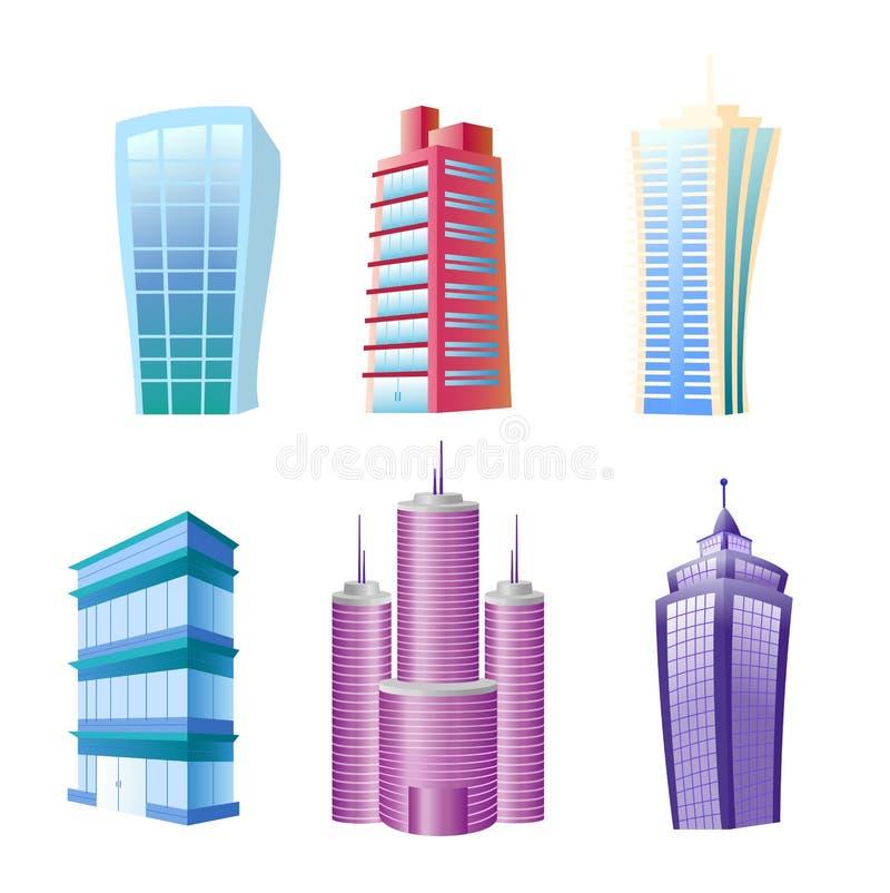 Иллюстрация вектора смешных современных установленных зданий Красочные и яркие дома и небоскребы в шарже плоско шуточном иллюстрация штока
