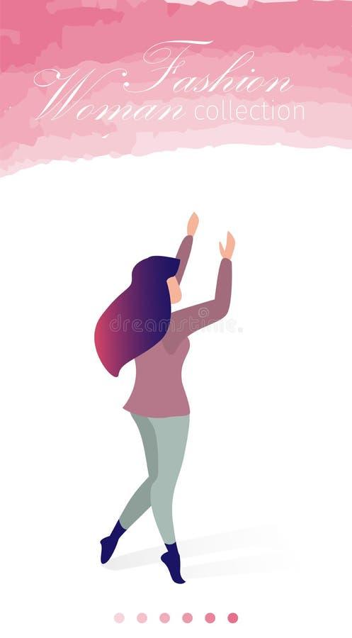 Иллюстрация вектора собрания женщины моды плоская иллюстрация вектора
