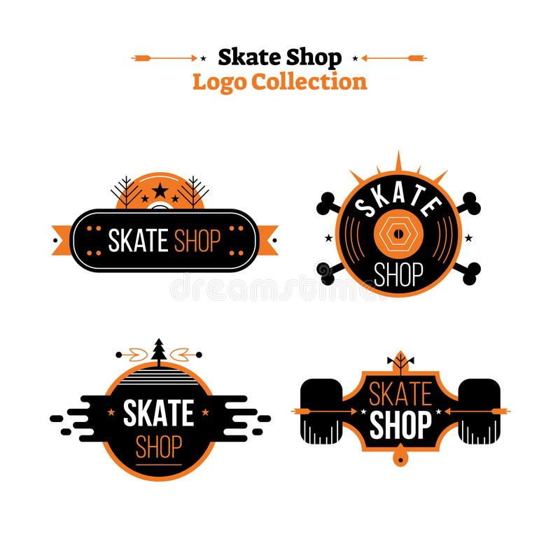 Иллюстрация вектора собрания логотипа магазина конька Значок с деятельностью при внешнего спорта для оборудования и магазина и де бесплатная иллюстрация