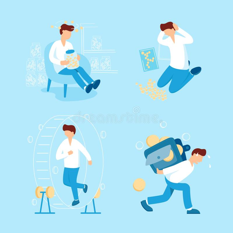 Иллюстрация вектора собрания персоны и денег плоская Человек собирает монетки, носит большой тяжелый бумажник с малыми деньгами иллюстрация вектора