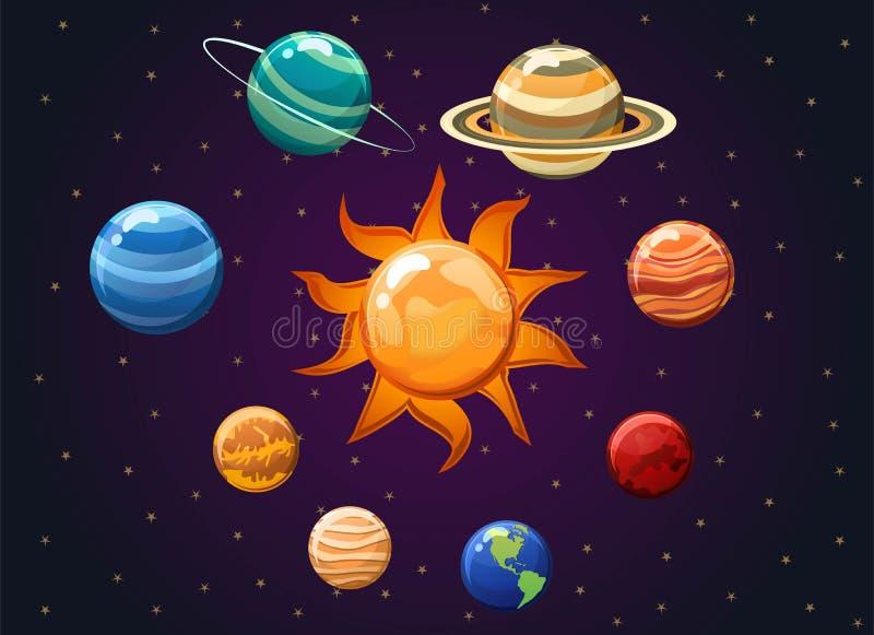 Иллюстрация вектора солнечной системы изолированная на предпосылке космоса Иллюстрация вектора показывая планеты вокруг солнца стоковые изображения