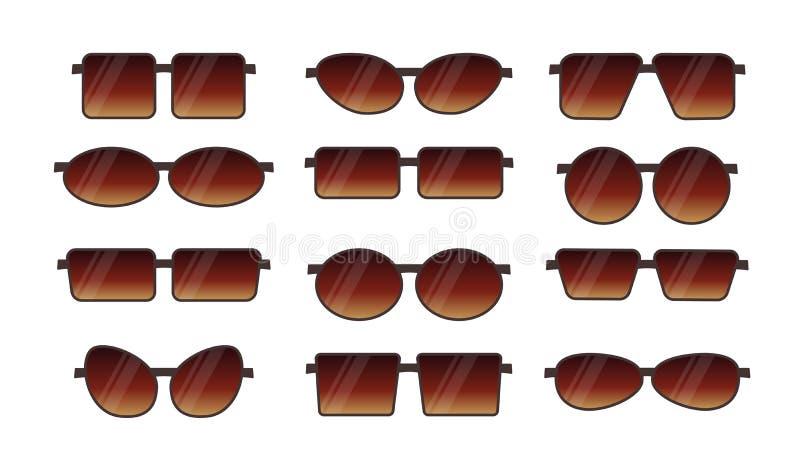 Иллюстрация вектора солнечных очков лета frameless Плоский набор значка Различные формы стекел глаза предохранения от солнца riml иллюстрация вектора