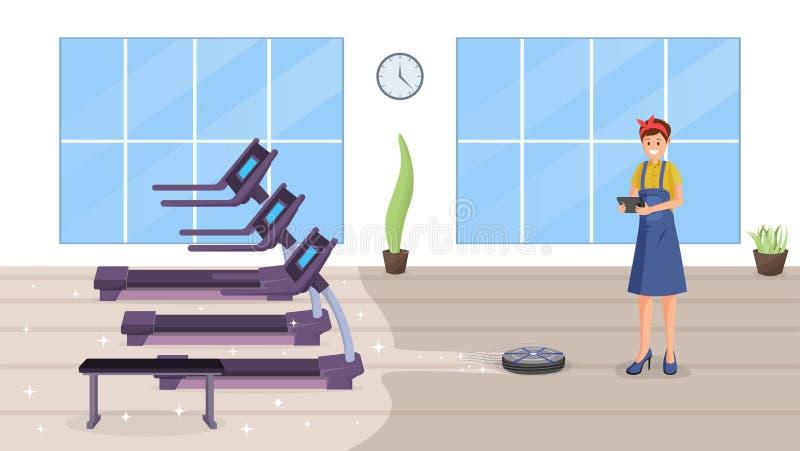 Иллюстрация вектора спортзала умная очищая плоская бесплатная иллюстрация