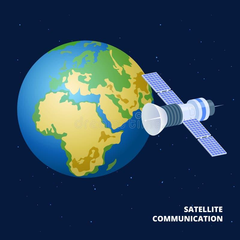 Иллюстрация вектора спутниковой связи равновеликая Космический корабль и земля бесплатная иллюстрация