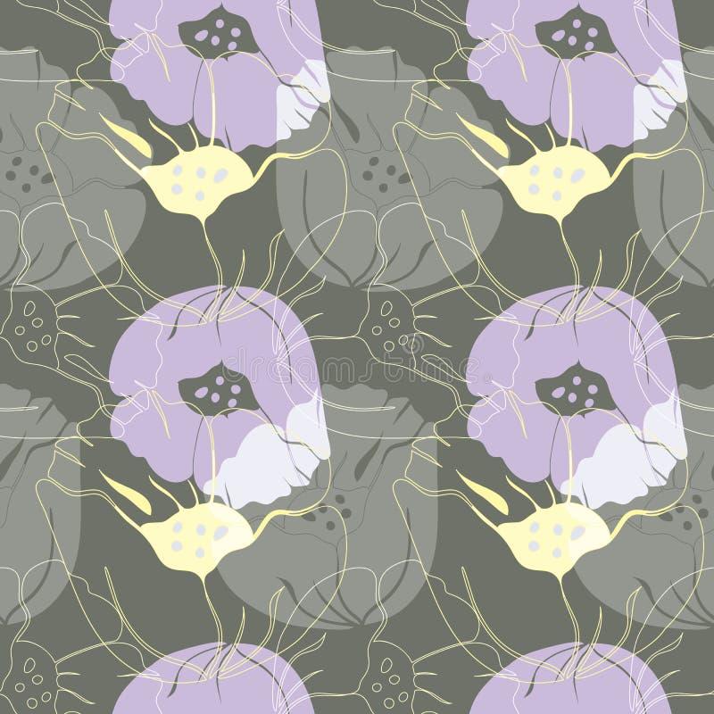 Иллюстрация вектора стилизованных воздушных, абстрактных маков иллюстрация вектора