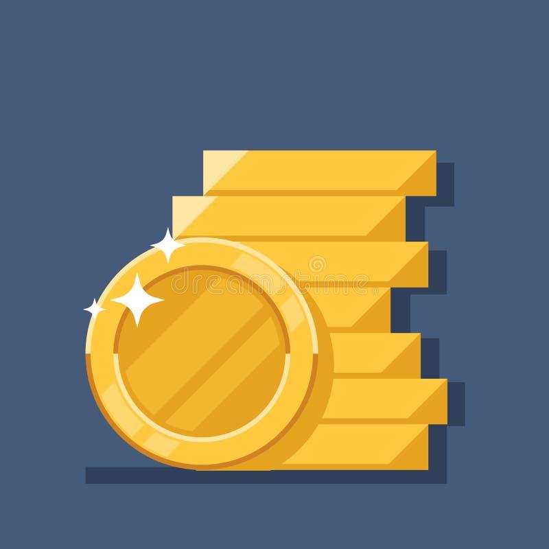 Иллюстрация вектора стога монеток Плоскими значок монетки штабелированный деньгами Золотая куча наличных денег пенни, куча сокров иллюстрация штока