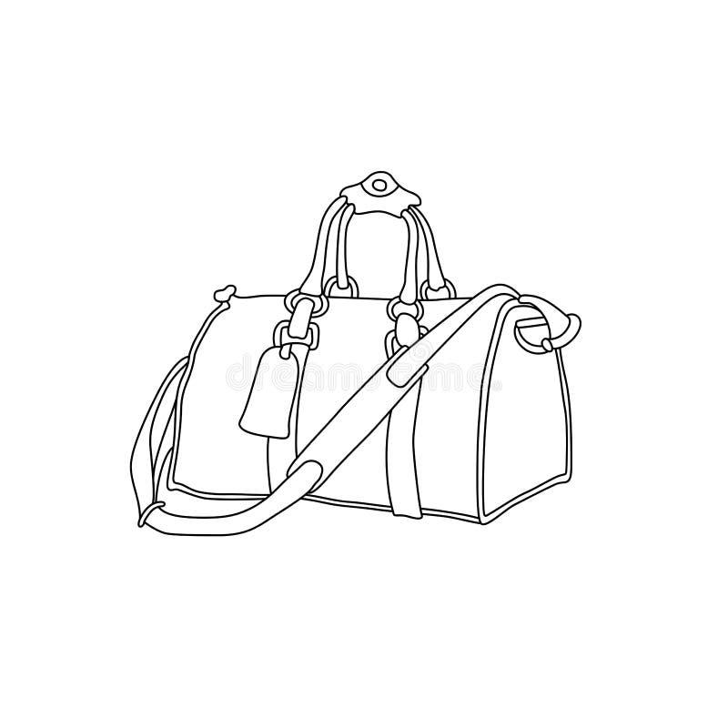 Иллюстрация вектора сумки перемещения Нарисованный рукой чемодан эскиза иллюстрация штока