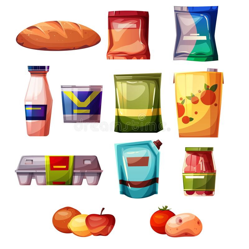 Иллюстрация вектора супермаркета продуктов бакалеи бесплатная иллюстрация