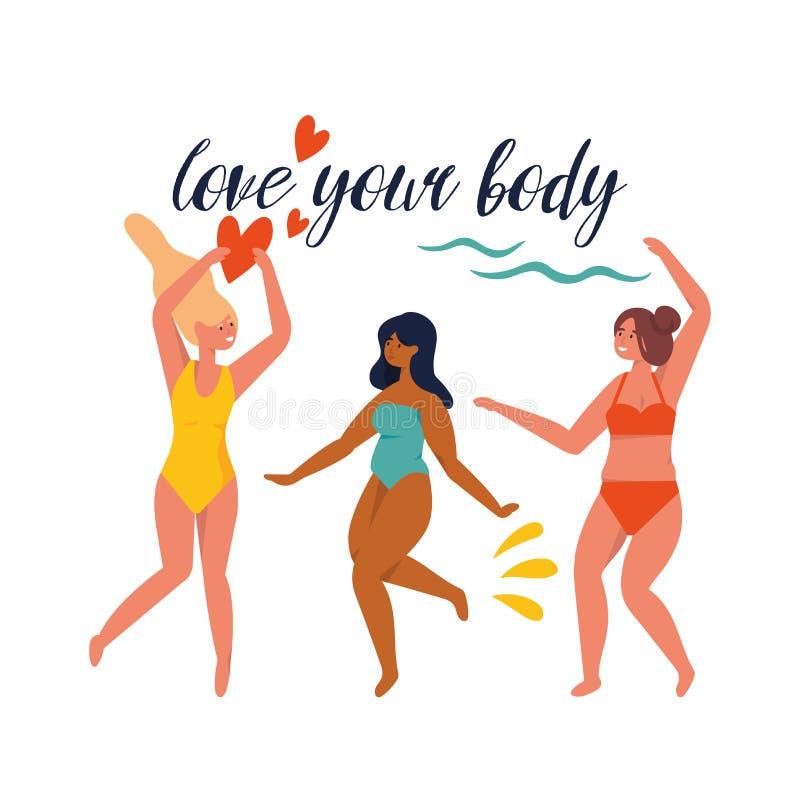 Иллюстрация вектора счастливая плюс девушки размера нося купальник в движении Позитв тела иллюстрация вектора