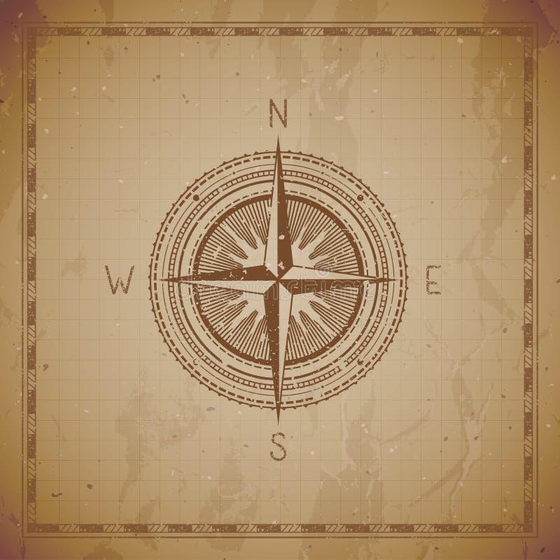 Иллюстрация вектора с винтажной розой компаса или ветра и рамка на предпосылке grunge иллюстрация штока