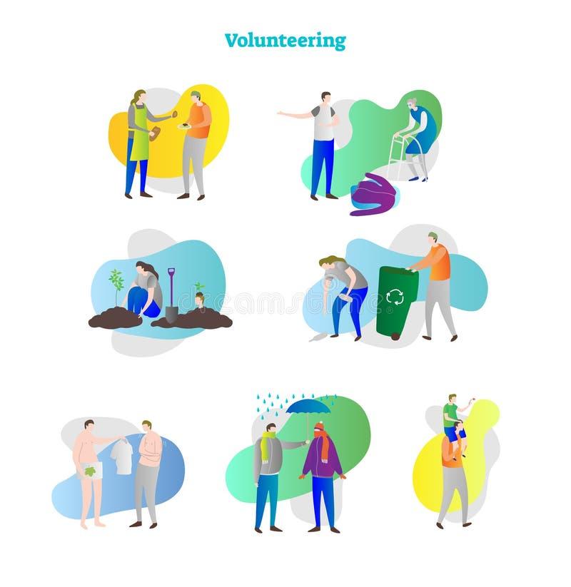 Иллюстрация вектора с вызываться добровольцем комплект собрания Примеры помощи, помощи, пожертвования, заботы и взаимодействовать иллюстрация вектора