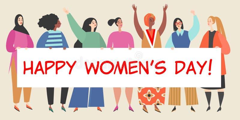 Иллюстрация вектора с группой в составе женщины держа большое знамя с поздравлениями к Международному женскому дню иллюстрация вектора
