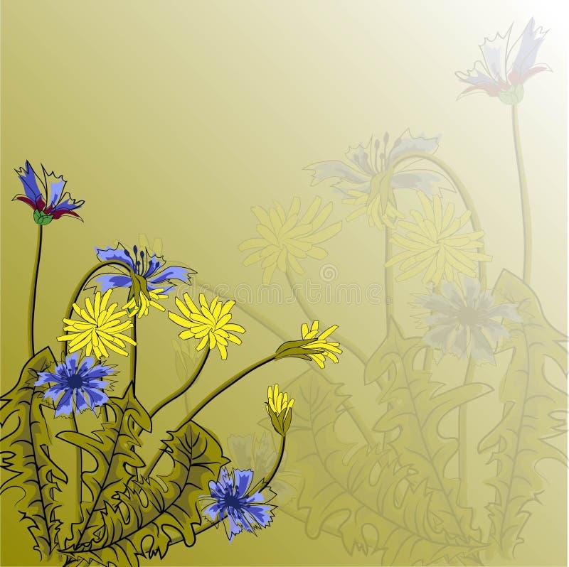 Иллюстрация вектора с красивыми cornflowers и одуванчиками поля на зеленой предпосылке Для украшать ткани, упаковывающ и иллюстрация вектора