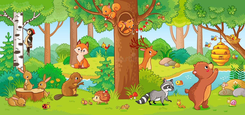 Иллюстрация вектора с милыми животными леса иллюстрация штока