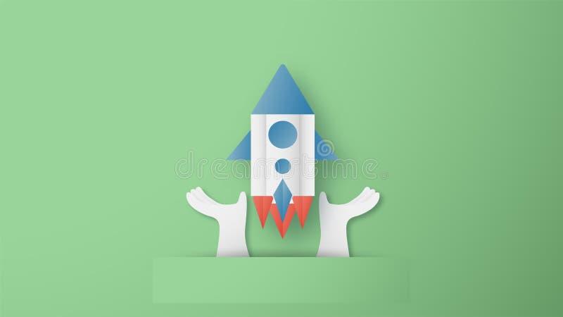 Иллюстрация вектора с начала концепцией вверх в отрезке бумаги, ремесле и стиле origami r Дизайн шаблона для бесплатная иллюстрация