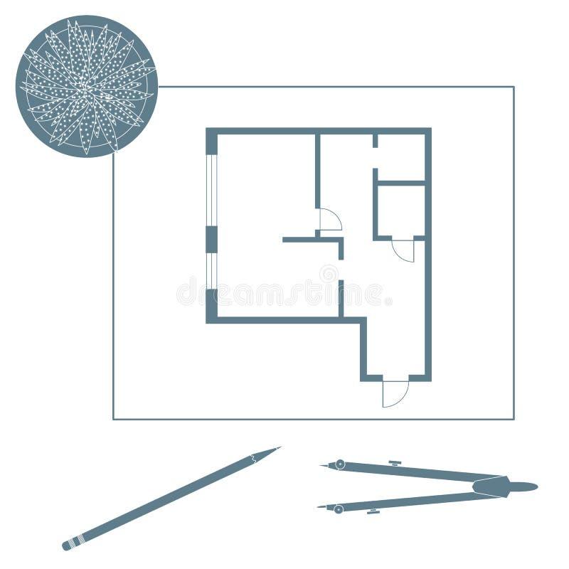 Иллюстрация вектора с планом квартиры бесплатная иллюстрация
