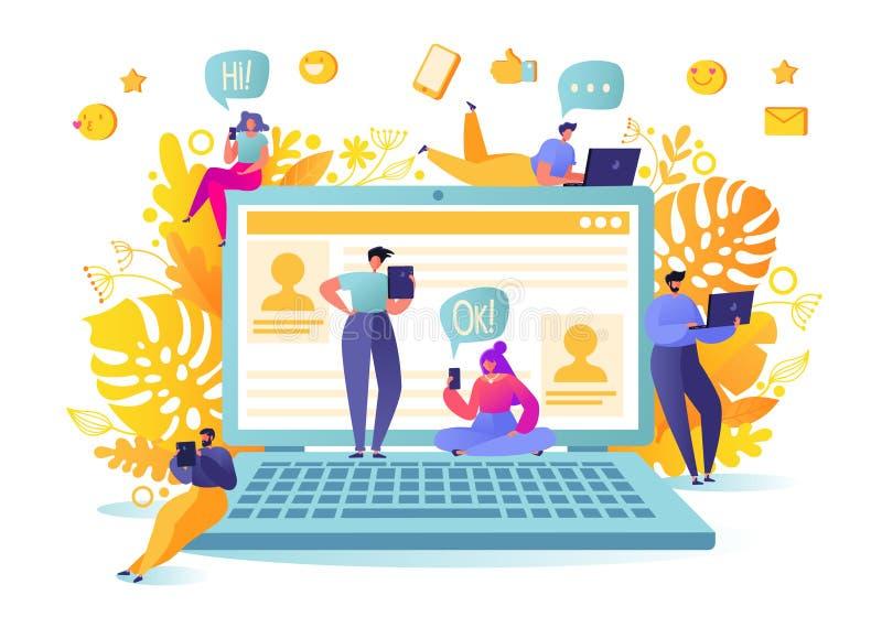Иллюстрация вектора с плоскими характерами людей беседуя в социальной сети Социальная концепция сетей средств массовой информации иллюстрация штока
