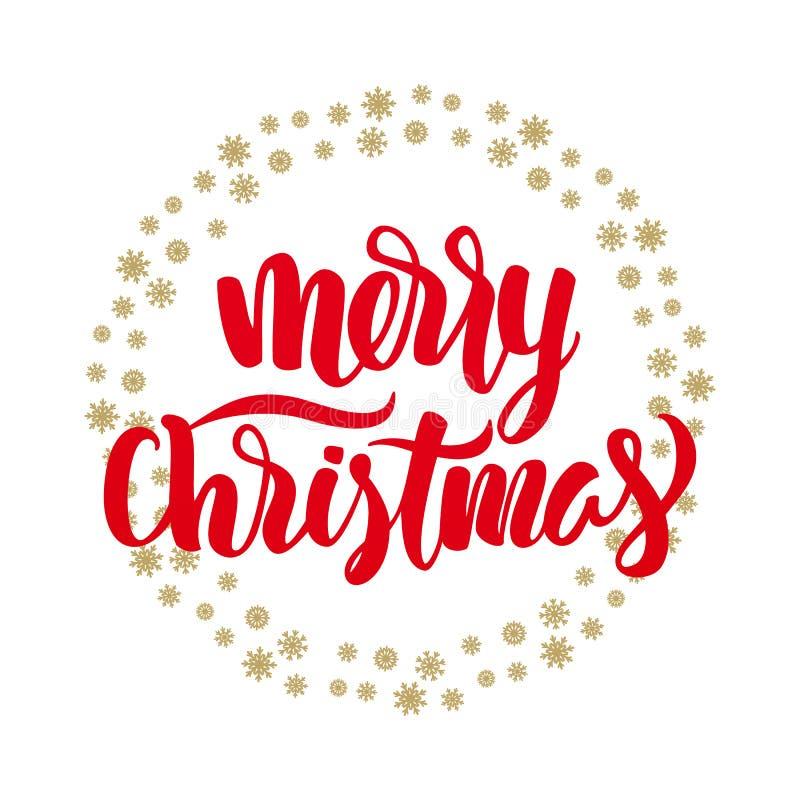 Иллюстрация вектора: С Рождеством Христовым красная элегантная современная литерность щетки с золотыми снежинками на белой предпо бесплатная иллюстрация