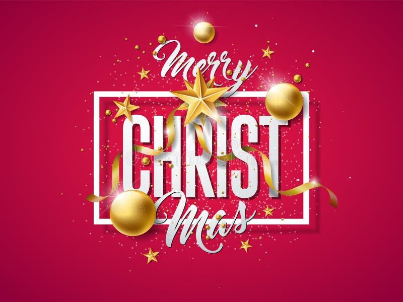 Иллюстрация вектора с Рождеством Христовым с шариком золота стеклянным, звездой выреза бумажными и элементами оформления на красн иллюстрация штока