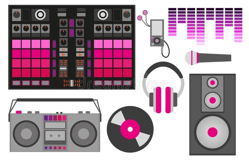 Иллюстрация вектора с розовыми аксессуарами DJ: Управление DJ, наушники, диктор, сабвуфер, выравниватель, показатель винила, микр бесплатная иллюстрация