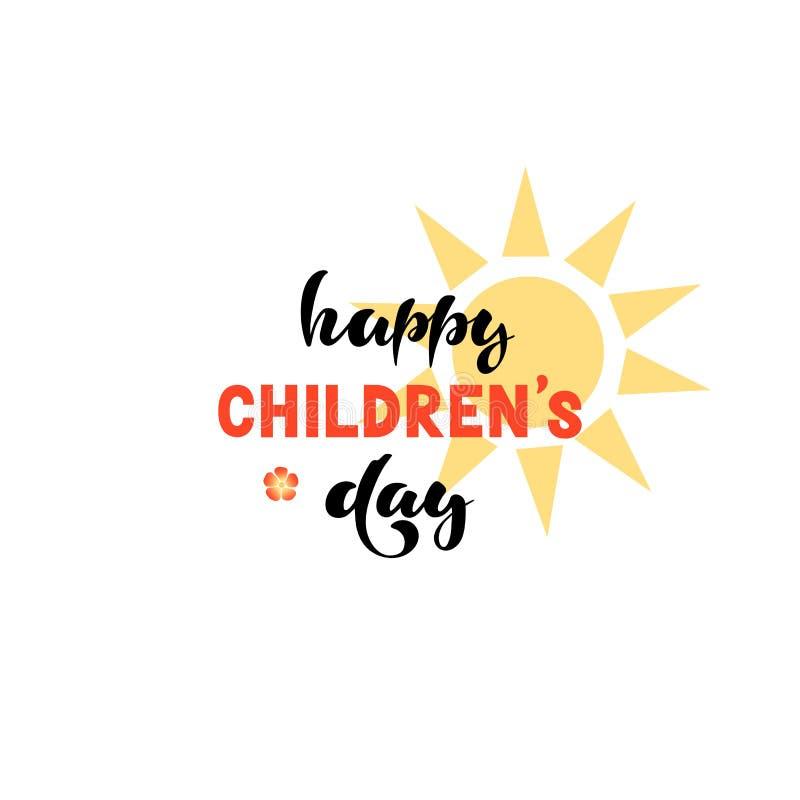 Иллюстрация вектора с рукописной фразой - днем счастливых международных детей бесплатная иллюстрация
