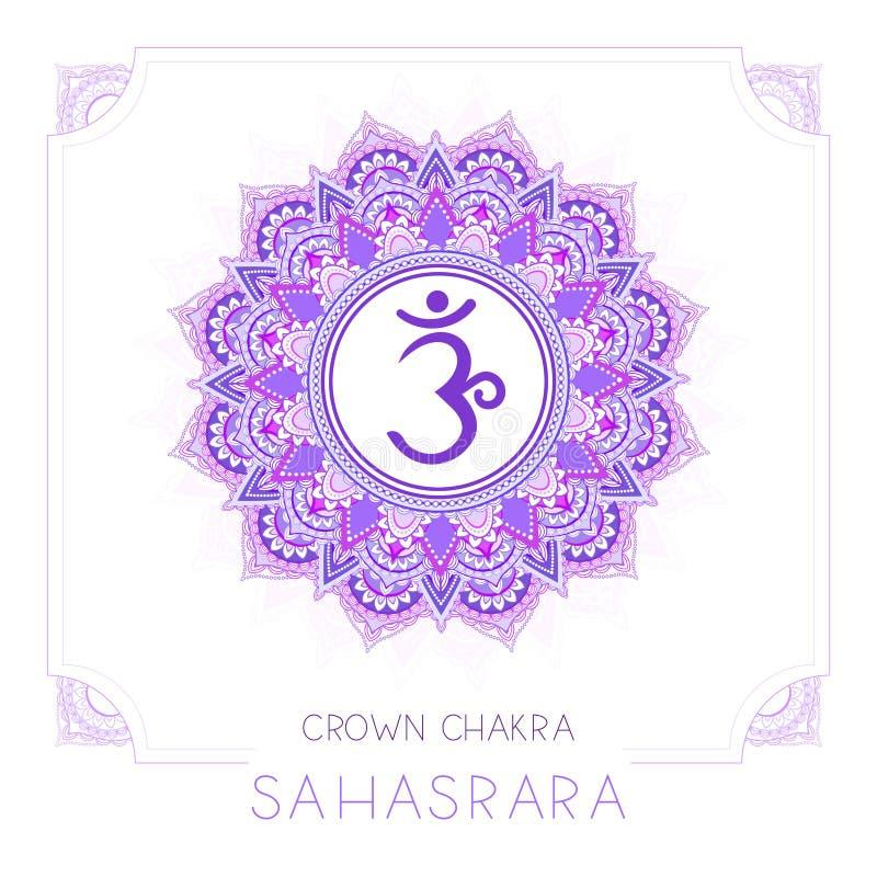 Иллюстрация вектора с символом Sahasrara - chakra кроны и декоративной рамкой на белой предпосылке иллюстрация штока