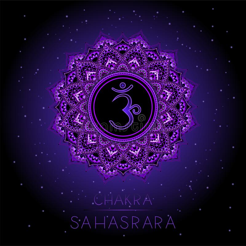 Иллюстрация вектора с символом Sahasrara - chakra кроны на черной предпосылке бесплатная иллюстрация
